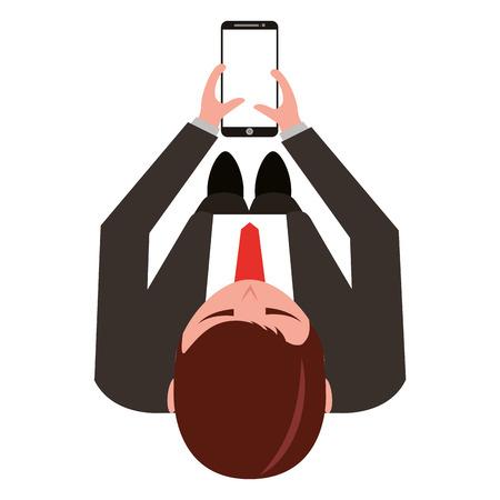aerial view of elegant businessman with smartphone device vector illustration design Illustration