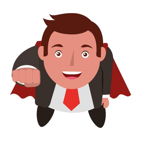 aerial view of elegant businessman super hero avatar character vector illustration design