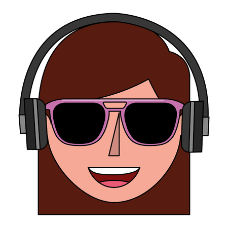 young woman head with sunglasses and headphone vector illustration design 일러스트
