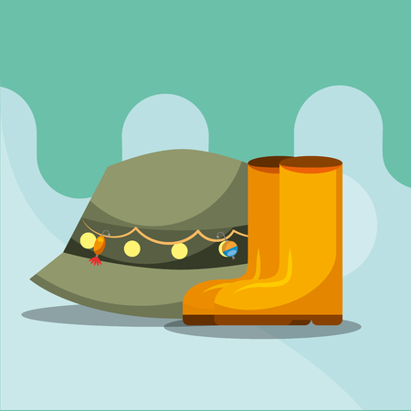 rubber boots and hat fishing equipment vector illustration