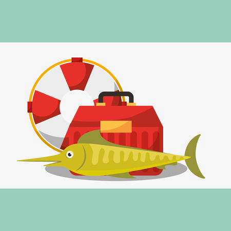 fishing equipment fish tackle box and lifebuoy vector illustration
