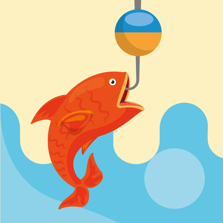 fishing rod and fish on hook vector illustration