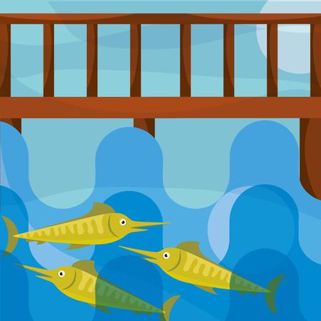 fishing cartoon wooden bridge fish in hook vector illustration Standard-Bild - 101439939