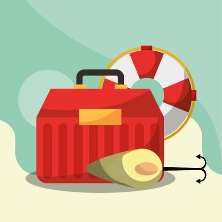 fishing equipment bait hook tackle box and lifebuoy vector illustration
