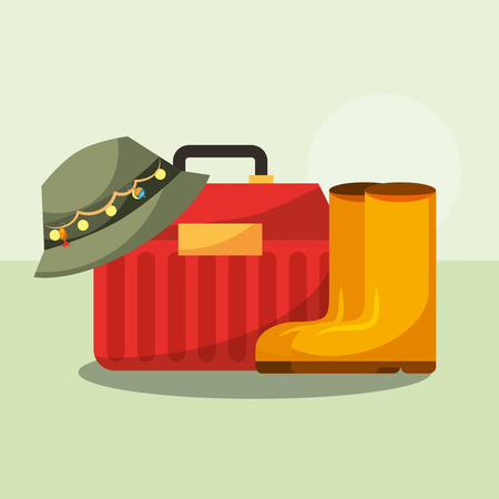 tackle box and boots hat fishing equipment vector illustration