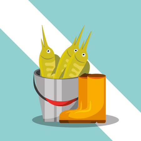 rubber boots and bucket full fish fishing equipment vector illustration