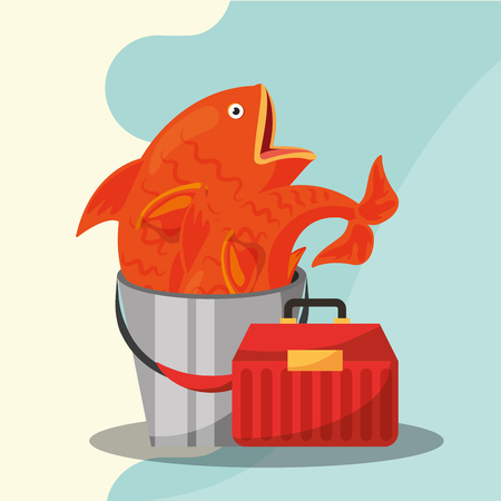 fishing equipment tackle box and bucket fishes vector illustration