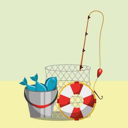 fishing equipment rod bucket fishes and basket vector illustration Illustration