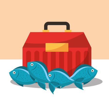 Angelausrüstung Tackle Box und Fische Vektor-Illustration