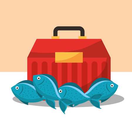 fishing equipment tackle box and fishes vector illustration