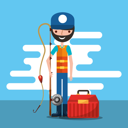 fisherman holding fishing rod and tool box cartoon vector illustration