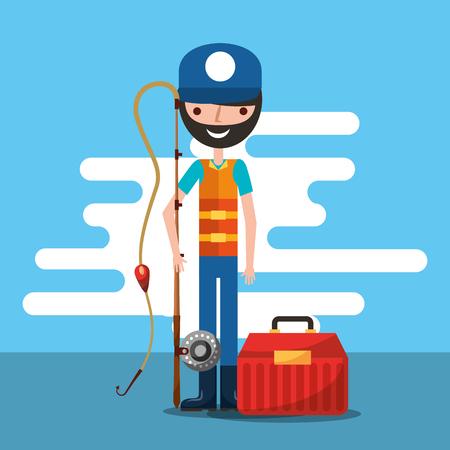 fisherman holding fishing rod and tool box cartoon vector illustration