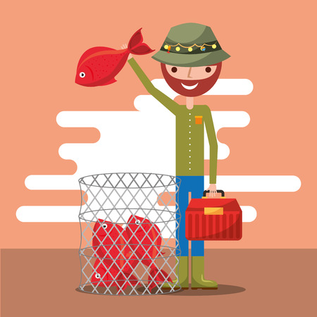 fisherman with basket fishes cartoon vector illustration