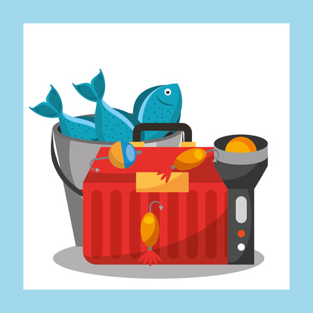 fishing equipment tackle box lantern and bucket fishes vector illustration Ilustrace