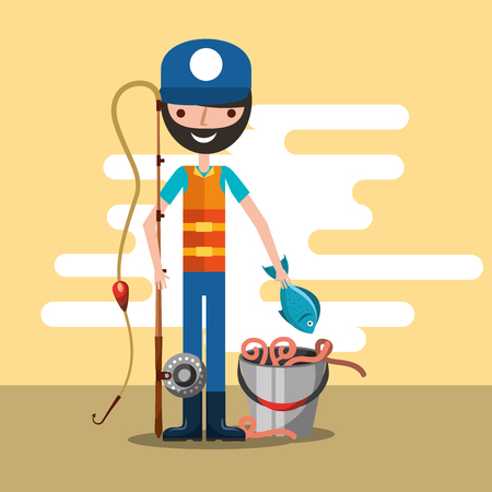 fisherman holds rod and fish with bucket worms cartoon vector illustration