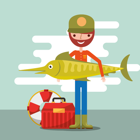 fisherman fishing big fish cartoon tool box and lifebuoy vector illustration Illustration