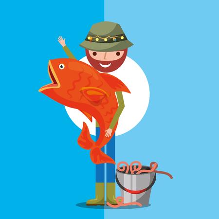 fisherman carrying big fish cartoon bucket with worms vector illustration