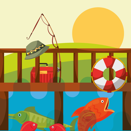 fishing fish rod hat lifebuoy and tackle box on the dock vector illustration Illustration