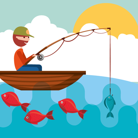 fisherman in the boat with fish in rod hook vector illustration Stock Illustratie