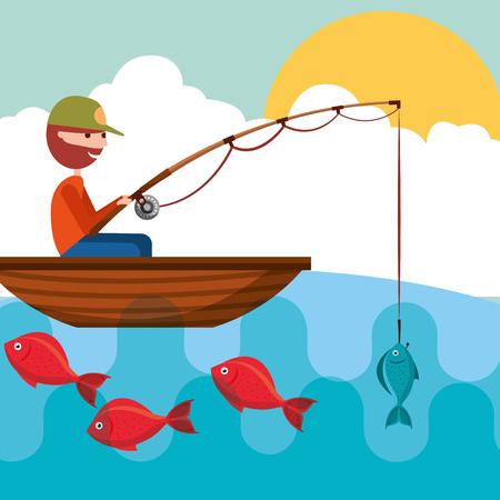 pescatore in barca con pesce in illustrazione vettoriale di asta gancio Vettoriali
