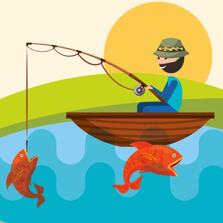 fisherman in the boat with fish in rod hook vector illustration Ilustração