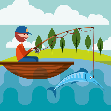 fisherman in the boat with fish in rod hook vector illustration Imagens - 103155675