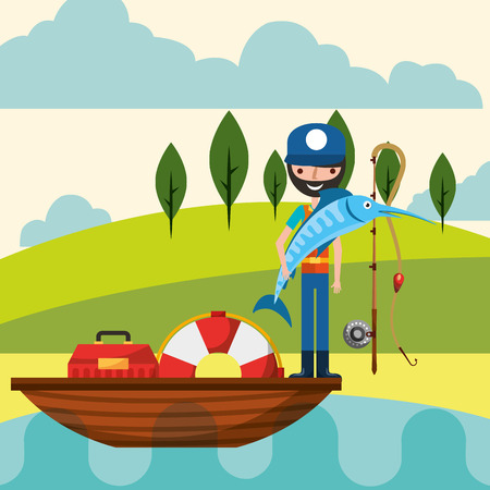 fisherman holds fish in the lake fishing boat lifebuoy vector illustration Illustration