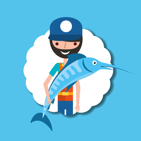 fisherman cartoon character holding big fish vector illustration