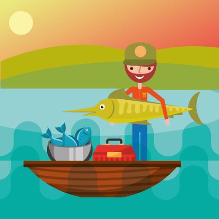 fisherman in a boat lake big fish tackle box bucket vector illustration Çizim