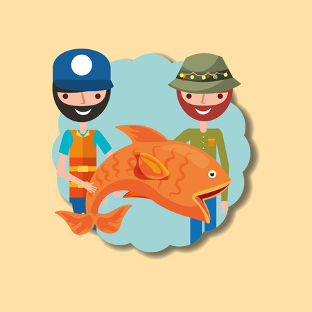 two fisherman cartoon character holding big fish vector illustration  イラスト・ベクター素材