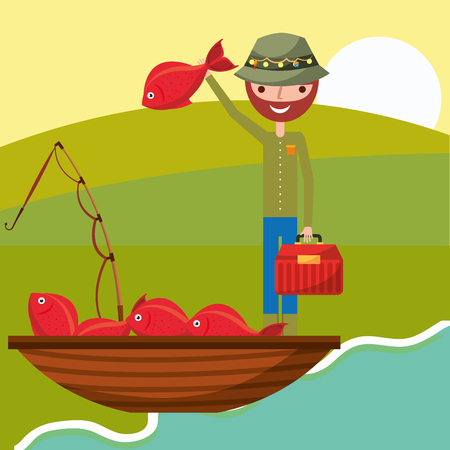 fisherman in a boat lake many fishes vector illustration