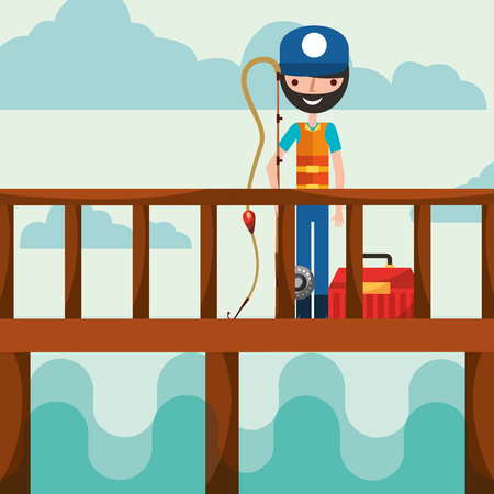 fisherman in the bridge holding fish rod and tackle box vector illustration