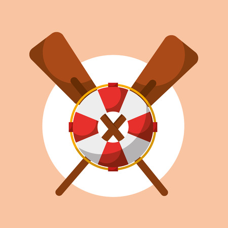 fishing sport tools lifebuoy and crossed oars vector illustration Иллюстрация