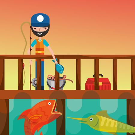 fisherman holds rod on the dock fishing vector illustration