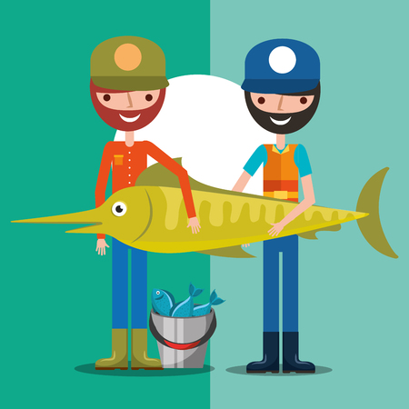 two fisherman holding giant fish with bucket fishes cartoon vector illustration Illustration