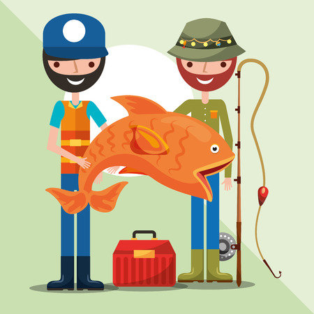 two fisherman holding giant fish rod and tackle box cartoon vector illustration Çizim