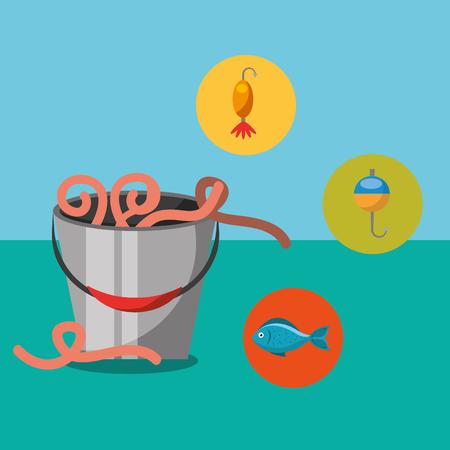 fishing fish cartoon bucket with worms vector illustration Foto de archivo - 101440622