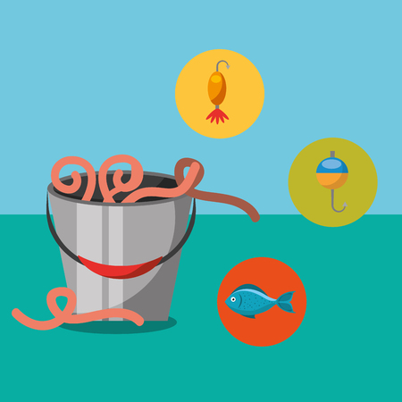 fishing fish cartoon bucket with worms vector illustration