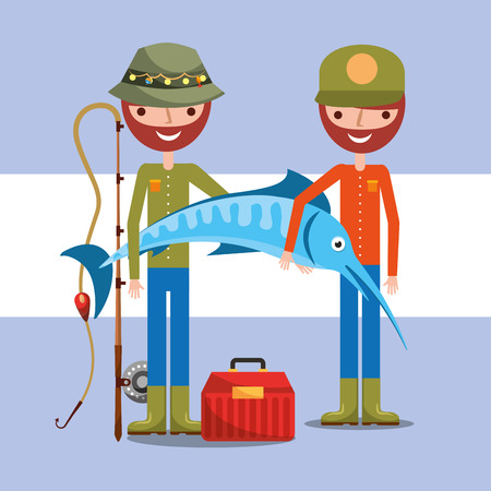 two fisherman holding giant fish with rod and tool box cartoon vector illustration