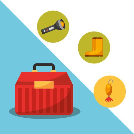 fishing fish cartoon tackle box vector illustration
