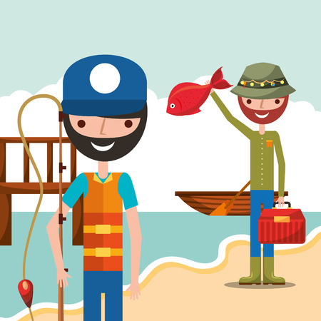 fisherman fishing in wooden bridge shore boat cartoon vector illustration