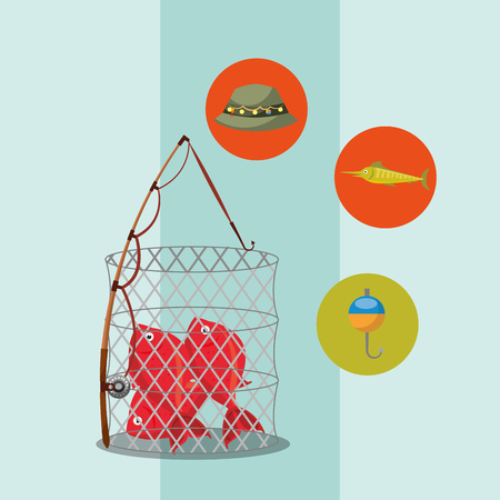 fishing fish on basket rod hat hook equipment vector illustration