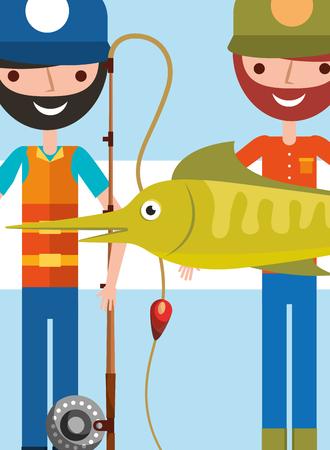 two fisherman holding giant fish and rod cartoon vector illustration Çizim