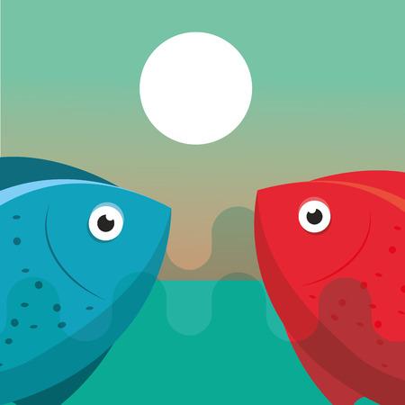 fishing red and blue fish cartoon vector illustration Illustration