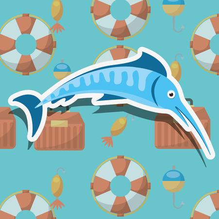 fish fishing cartoon sport activity vector illustration