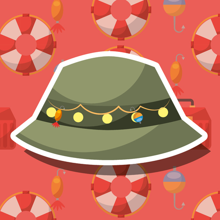 fishing equipment hat with hooks vector illustration Vectores