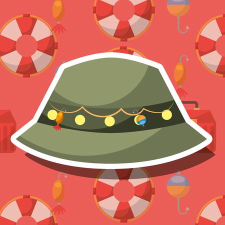 fishing equipment hat with hooks vector illustration Illustration