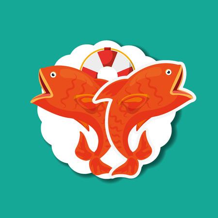 fishing red fishes and lifebuoy nautical emblem vector illustration