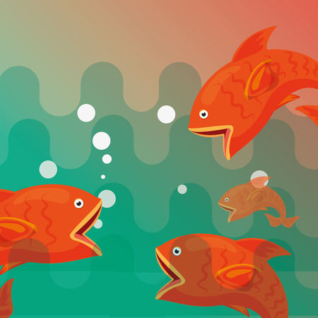 fishes wildlife lake or sea fishing concept vector illustration