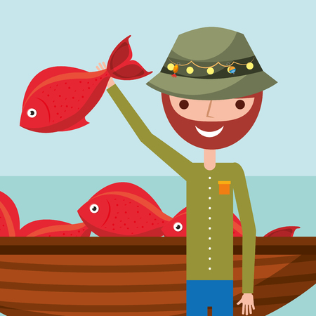 fisherman cartoon character holding red fish and boat vector illustration